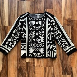 H&M Cropped Long Sleeve Top Black White Large